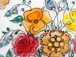 Винтажный витраж Цветы. Подвесное панно. Германия., фото №4