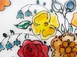 Винтажный витраж Цветы. Подвесное панно. Германия., фото №7