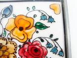 Винтажный витраж Цветы. Подвесное панно. Германия., фото №8