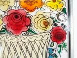 Винтажный витраж Цветы. Подвесное панно. Германия., фото №9