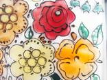 Винтажный витраж Цветы. Подвесное панно. Германия., фото №11