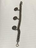 Винтажный металический браслет с тремя монетками, фото №2