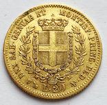 20 лир 1859 года. Сардиния. (Коробка, сертификат), фото №2