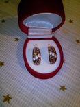 Серьги серебряные позолоченые, фото №2
