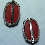 Серебряные серьги 925, вставки золото 585 , натуральный красный коралл., фото №6