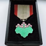 Знак ордена Восходящего солнца VII степени (медаль зелёной  павлонии) в коробке, фото №2