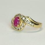 Золотое кольцо с натуральным рубином и бриллиантами, фото №3