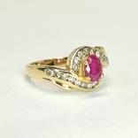 Золотое кольцо с натуральным рубином и бриллиантами, фото №4