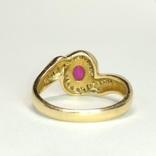 Золотое кольцо с натуральным рубином и бриллиантами, фото №5