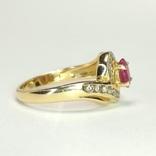 Золотое кольцо с натуральным рубином и бриллиантами, фото №6