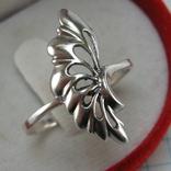 Серебряное Кольцо Веер Лист 925 проба Размер 19.25 Серебро 767, фото №2