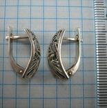 Серебряные Серьги Сережки Английская Застежка Замок Черные Камни 925 проба Серебро 100 фото 2