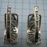 Серебряные Серьги Сережки Английская Застежка Замок Черные Камни 925 проба Серебро 100 фото 3
