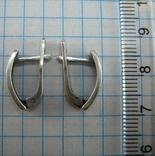 Серебряные Серьги Английская Застежка Замок Первыбытный Стиль 925 проба Серебро 101 фото 2