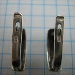 Серебряные Серьги Английская Застежка Замок Первыбытный Стиль 925 проба Серебро 101 фото 3