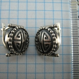 Серебряные Серьги Сережки Английская Застежка Замок Узор 925 проба Серебро 105 фото 4