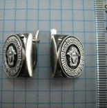 Серебряные Серьги Сережки Версаче Медуза Меандр Английская Застежка 925 проба Серебро 104 фото 4