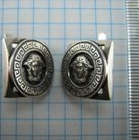 Серебряные Серьги Сережки Версаче Медуза Меандр Английская Застежка 925 проба Серебро 104 фото 6