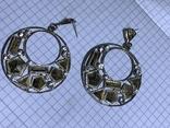 Круглые серьги с белыми камушкам винтаж, фото №2