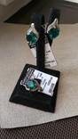 Серьги и кольцо серебро 925 с изумрудами и цирконами., фото №2