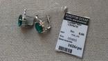 Серьги и кольцо серебро 925 с изумрудами и цирконами., фото №8