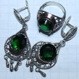 Серебро , золото и цирконы .Комплект из дух сережек и кольца, фото №2