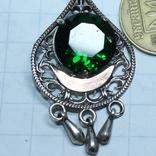 Серебро , золото и цирконы .Комплект из дух сережек и кольца, фото №6