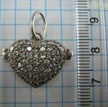 Серебряный Локет Подвеска для фото Сердце День Святого Валентина 925 проба Серебро 558 фото 3