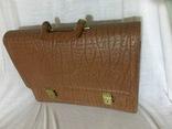 Винтажный кожаный портфель профессора, фото №2