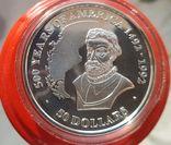Острова Кука 50 долларов 1989 г Серебро. Унция. 500 летие открытия Америки, фото №2