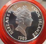 Острова Кука 50 долларов 1989 г Серебро. Унция. 500 летие открытия Америки, фото №3