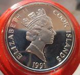 Острова Кука 50 долларов 1991 г Серебро. Унция. 500 летие открытия Америки, фото №3