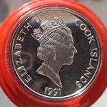Острова Кука 50 долларов 1991 г. Серебро. Унция. 500 летие открытия Америки, фото №3