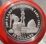 Острова Кука 50 долларов 1991 год Серебро. Унция. 500 летие открытия Америки, фото №2