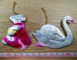 Елочные игрушки мышка, лебедь, рыбки. картон и пластмасс, ссср. 5 штук., фото №3