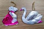 Елочные игрушки мышка, лебедь, рыбки. картон и пластмасс, ссср. 5 штук., фото №6