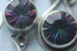 Комплект серебра 925 пробы серьги и кольцо . Вставки из мистиктопазов, фото №6
