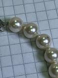 Серебряное винтажное колье из белых бусин, фото №9