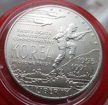 США 1 доллар 1991 г. Серебро. 38-летие окончания войны в Корее., фото №2