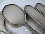 Большой Будуарный Набор Зеркало и 3 Щетки Серебро 800 пр ( Винтаж Европа ), фото №7