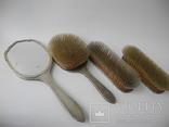 Большой Будуарный Набор Зеркало и 3 Щетки Серебро 800 пр ( Винтаж Европа ), фото №8