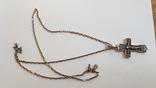 Крестик нательный с цепочкой. Серебро 925. Вес 10.7 г. Длина 60 см., фото №2