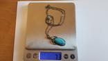 Подвес бирюза +цепочка серебро 925 проба длина 50 см. Вес 7.3 г, фото №9