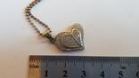 Кулон в виде сердца + цепочка 50 см. Серебро 925 проба. Вес 5.3 г., фото №3
