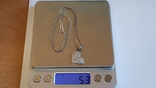 Кулон в виде сердца + цепочка 50 см. Серебро 925 проба. Вес 5.3 г., фото №8