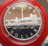 Канада 1 доллар 1989 г. Серебро. 150-летие Торонто. Каноэ. Елизавета II., фото №2