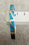 Серебряный Мексиканский браслет с бирюзой (Серебро 925 пр, вес 27 гр), фото №7