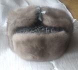 Новая норковая серо-голубая шапка в родной коробке с бирками, фото №3