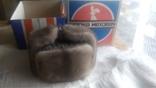 Новая норковая серо-голубая шапка в родной коробке с бирками, фото №10