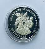 50 Долларов, серебро, 1 унция, 500 летие открытия Америки 1492-1992,, фото №2